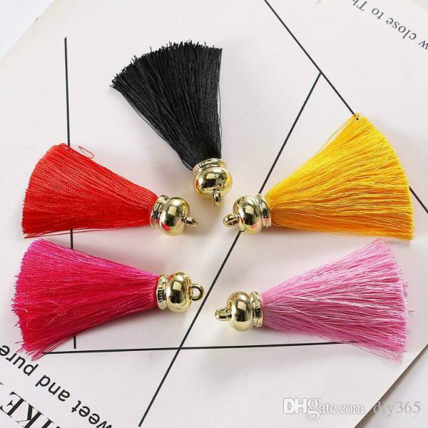 Wholesale 7cm Korean artificial ice silk golden bell tassel pendant creative mobile phone shell key chain clothing accessories
