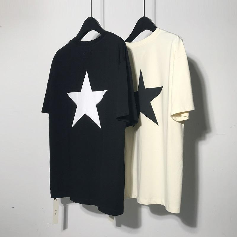 2020 Kanye Футболка Solid Mens Летнее платье Pentagram Tshirt Сезон 5 Канье Уэст Хлопок Серый Tshirt Kanye Крупногабаритные Tshirts D30