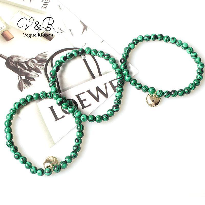 Stretchable elastische natürliche grüne Marmorierte wulstige Armband-Armband-Set 3pcs mit Sea Shell Bridesmaid Boucle Doreille Femme 2020