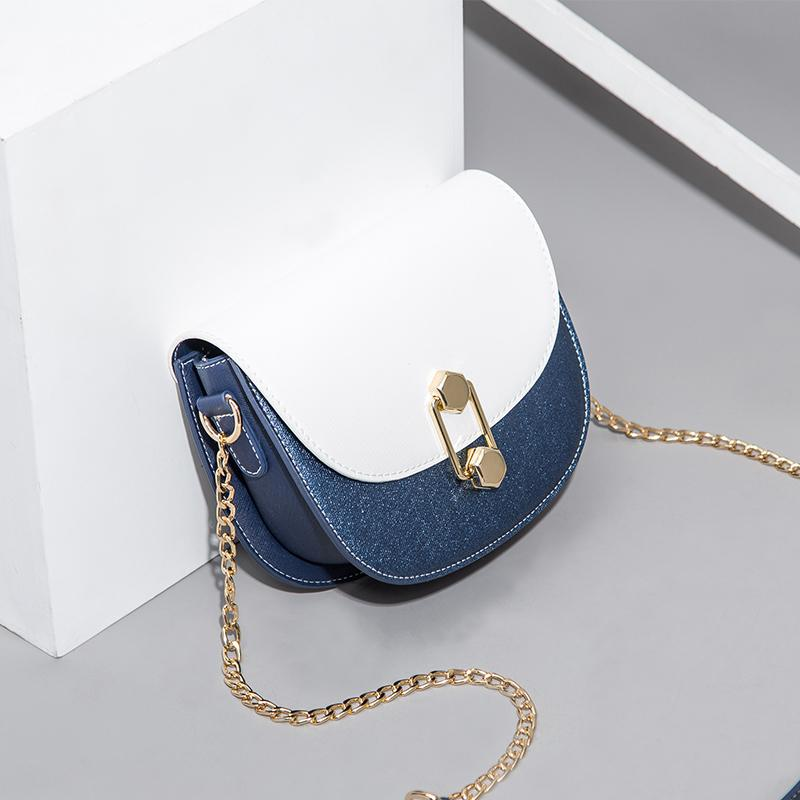 Luxurious2019 women's Bag Woman Chain Shoulder crossbody Saddle Package Western Style Cable Satchel contrast color small size