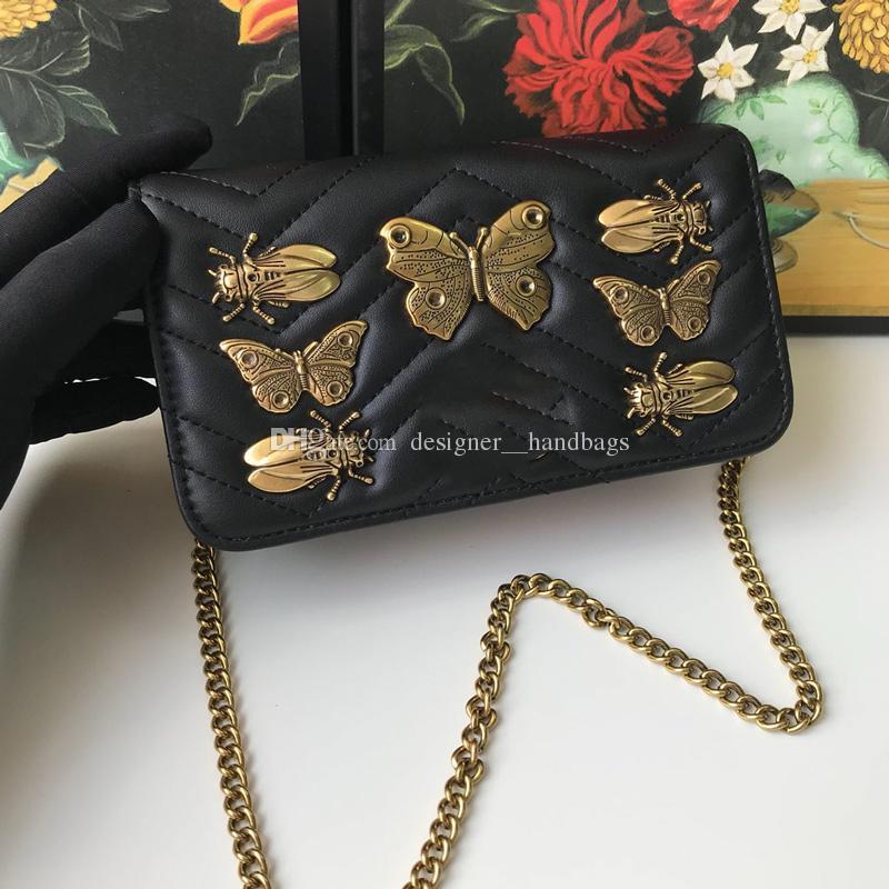 Роскошные дизайнерские сумки на ремне через плечо с металлическими насекомыми, цепочки-бабочки, сумки из натуральной кожи, женские клапаны, сумки с сердечками