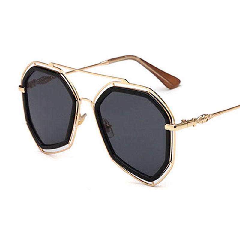 Luxury-2018 Retro vintage marca de moda de alta calidad gafas de sol de metal hueco HD Espejo gafas de sol para hombres mujeres gafas vintage