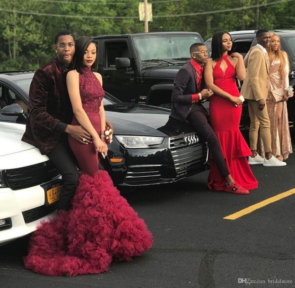 Black Girls High Neck Tight Mermaid Prom Dresses Strapless Sleeveless Ruffles Fishtail Evening Gowns Elegant Slim Robes formelles soirée