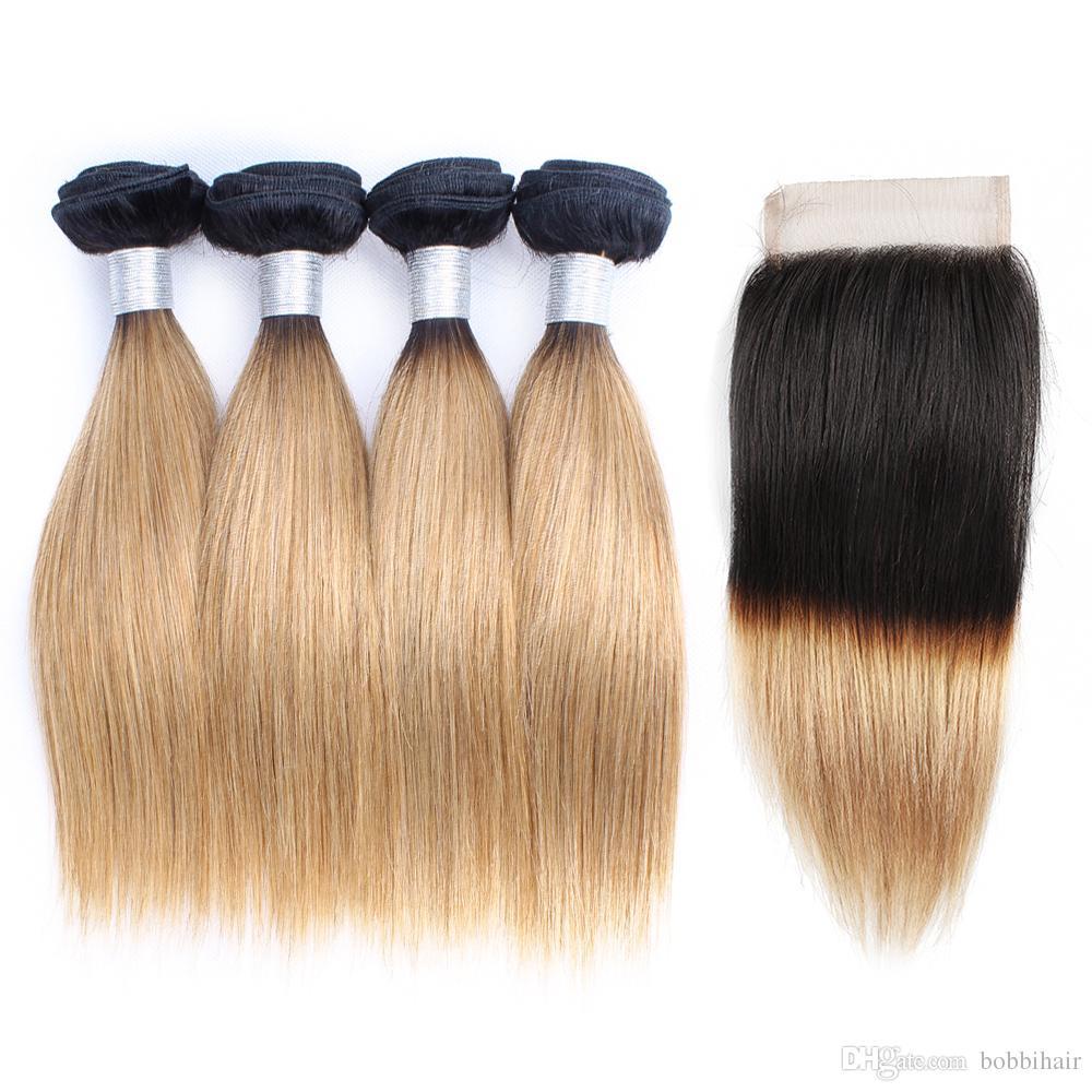 1B27 Ombre Honey Blond Blond Bunde Blond Closure Dark Roots 50g / 번들 10-14 인치 4 번들 브라질 스트레이트 인간의 머리카락 확장