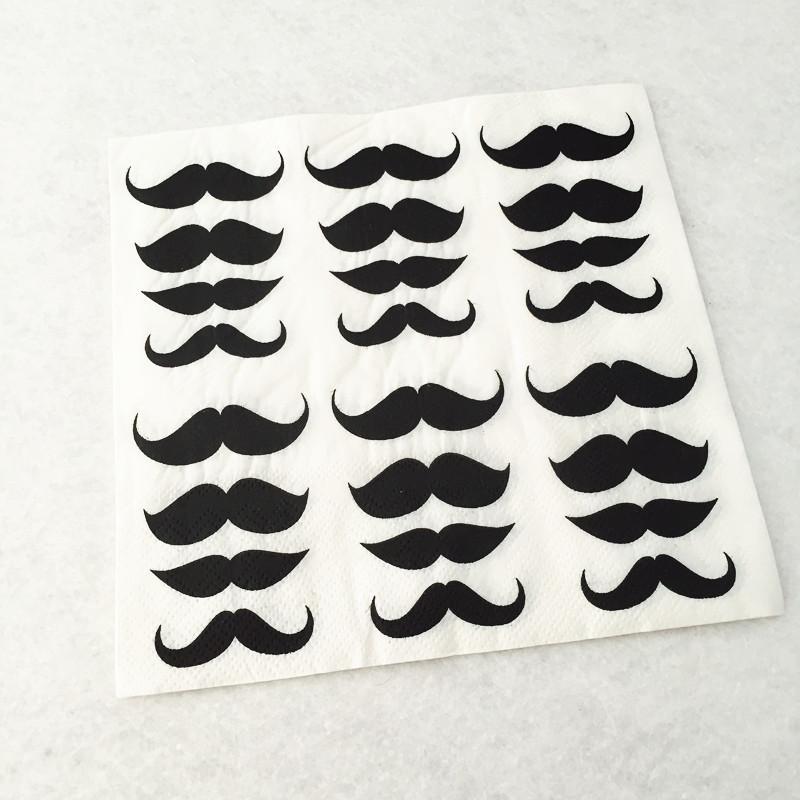 40pcs Mustache Print Paper Napkins Tissue Serviette Decoupage for boy Baby Shower Wedding Party Decorations 33cm*33cm