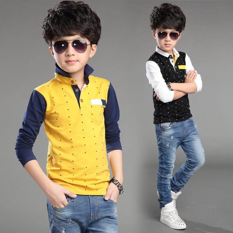 Children's Wear Summer T-shirts Big Boys Pure Cotton Kids Dot T-shirts Long Sleeved Boys Tops 4-14 Ages Kids Clothes 8 To 12