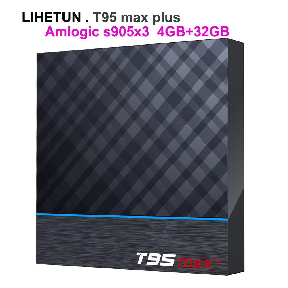 T95 Max Plus Android 9.0 TV Kutusu Amlogic S905x3 4 GB 32 GB 8K Dul-Wifi BT4.2 Akış Media Player