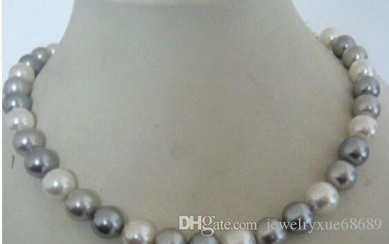 потрясающий + 9-10 мм таитянский белый серый цвет жемчужное ожерелье 16 дюймов 925 серебро