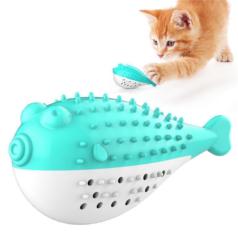 Cat brinquedos interativos Cat Toothbrush Catnip Toy Cat Peixe Toy Playing alimentação Toy com a Bell para gatos limpeza dos dentes