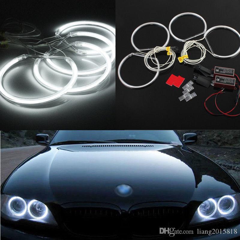 جديد 4 قطع السيارات الأبيض led ccfl عيون الملاك هالو خواتم أضواء مصباح لسيارات bmw e36 e39 e46