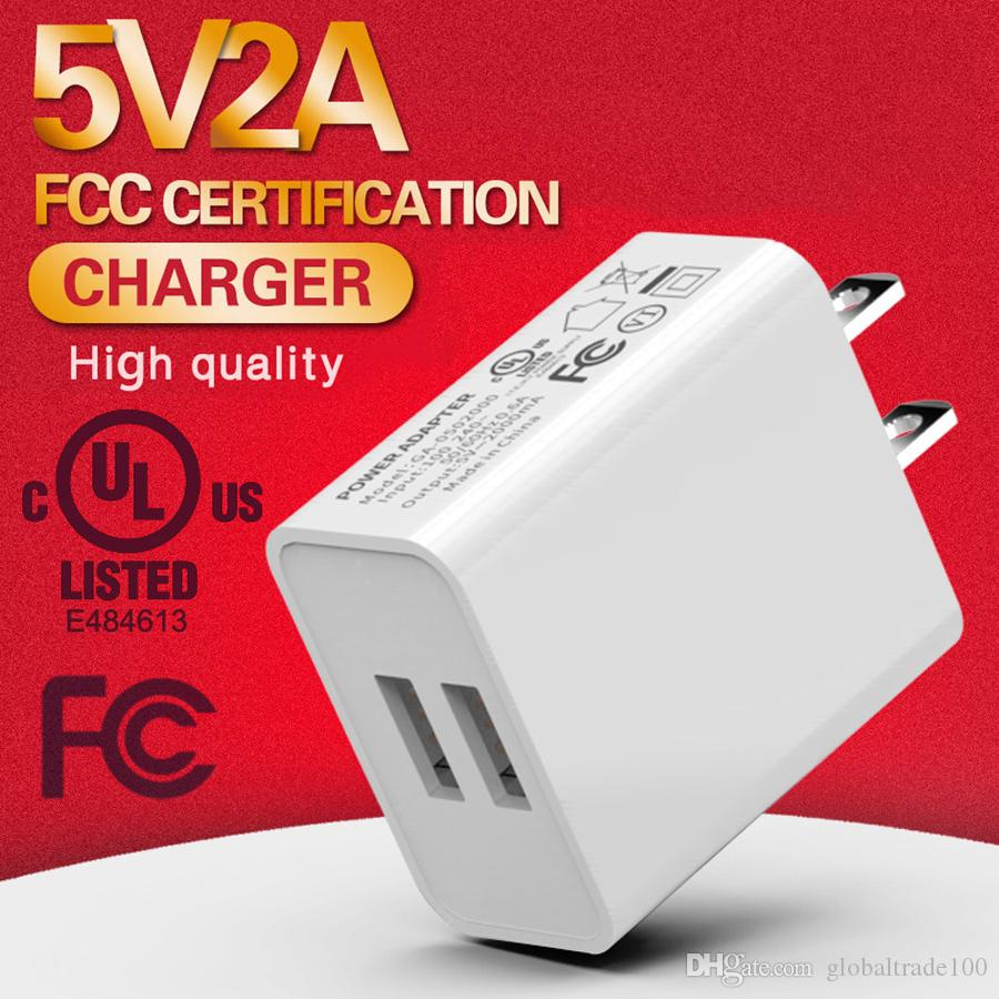 Universal 5V 2A Dual USB Charger UL Fast USB Wall Charging US EU Travel Power Adapter For iphone Samsung Huawei Phone Tablet PC