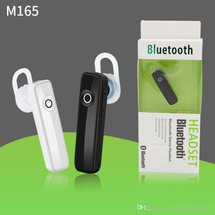 모든 스마트 폰 (소매점) 용 정품 상자 마이크가있는 핫 M165 M163 미니 무선 블루투스 이어폰 스테레오 이어 버드 헤드셋