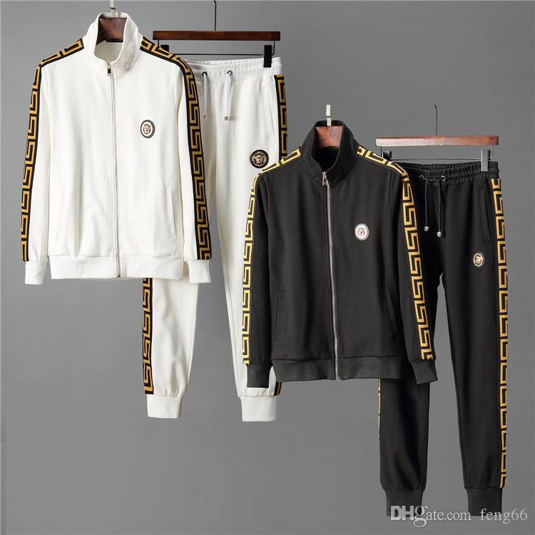 뜨거운 판매 패션 디자이너 남성 운동복는 문자 인쇄 남성 운동복 운동복은 남성 코트 재킷 캐주얼 스웨터 M 정장 세트 땀 설정
