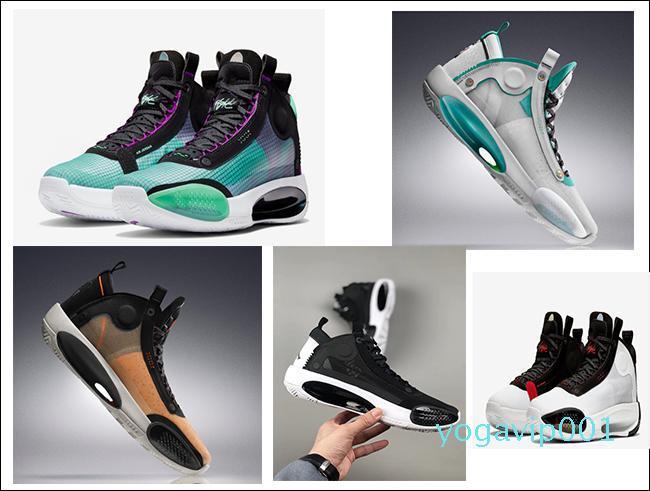 34 XXXIV Bred Bleu Void Hommes Chaussures de basket-J34 34 Ambre Hausse Eclipse Snow Leopard Designer Chaussures de sport avec la boîte 100-103-400-800