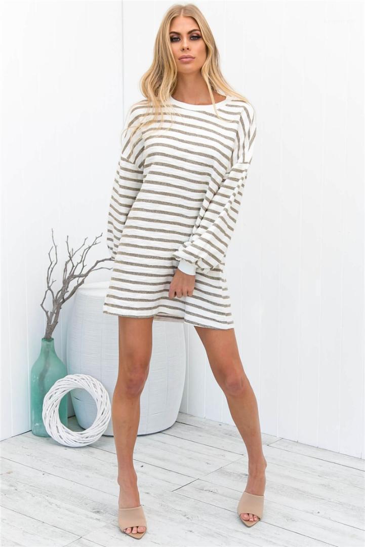 Crew Neck Long Sleeve Fashion Dresses Casual Ladies Holidays Clothing Spring Striped Print Female Dress Women