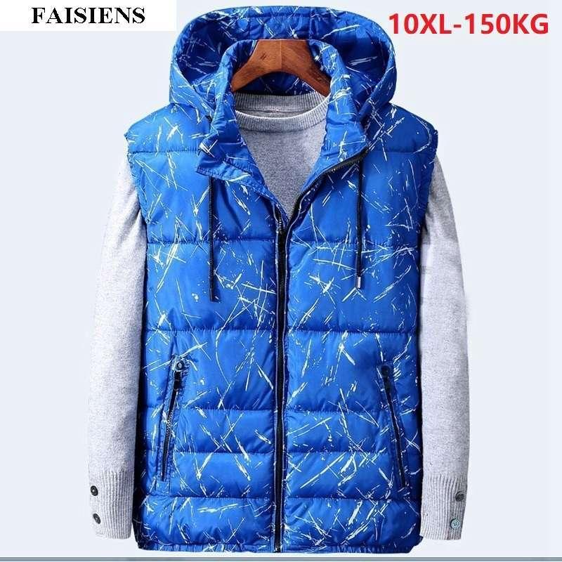 FAISIENS Spessore caldo inverno Uomo Gilet geometrico 7XL Plus Large Size Grande 5XL 8XL 10XL Outwear Cotton-Padded Out Door Gilet 54