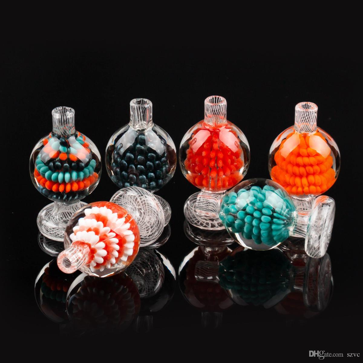 Новый дизайн CARB CAP Красочные стеклянные пузырьковые шариковые шарики для скошенной кромки кварц Banger DAB выгречите стеклянную воду