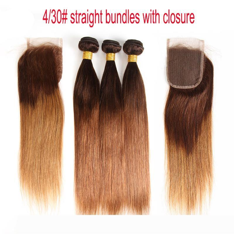 Ombre Brazilian Straight Virgin Hair Bundles With Lace Closure 4 30# Two Tone Dark Brown Honey Blonde Human Hair Weaves And Closure