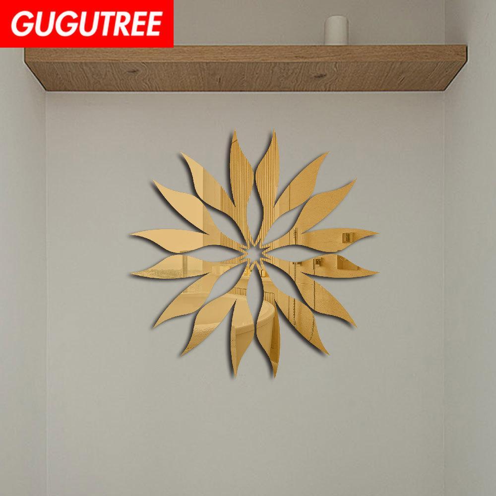 Decorate Home 3D flower sun cartoon mirror art wall sticker decoration Decals mural painting Removable Decor Wallpaper G-262