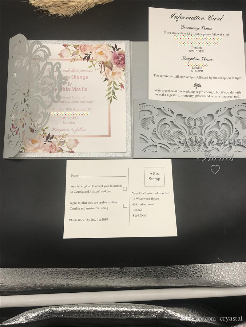 Kits d'invitation de mariage de poche scintillants coupés au laser de fleur de printemps argentée avec carte RSVP, Livraison gratuite par UPS