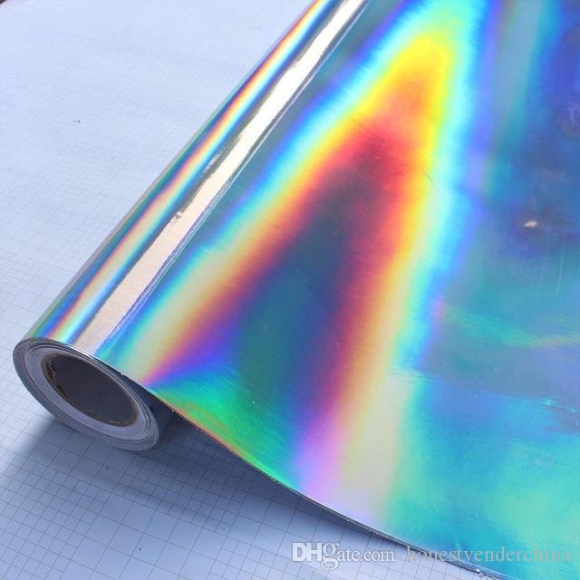 30 * 100 cm Plateado Láser Cromado Vinilo Holográfico Auto Car Wrap Film Rainbow Car Body Decoration Chrome Sticker Sticker Decal