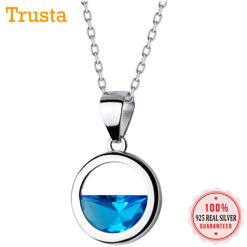 Trustdavis Fashion Genuine 925 Sterling Silver Charms Round Blue Crystal Short Necklace For Women Fine Silver 925 Jewelry DS1173