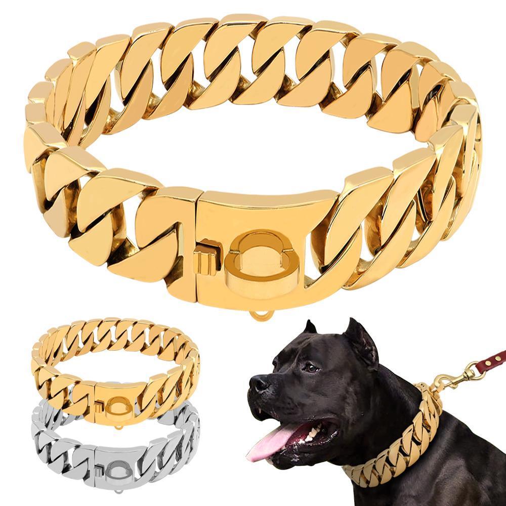 큰 개 핏불 불독 실버 골드 표시 칼라에 대한 강한 금속 개 체인 목걸이 스테인레스 스틸 애완 동물 훈련 초크 목걸이