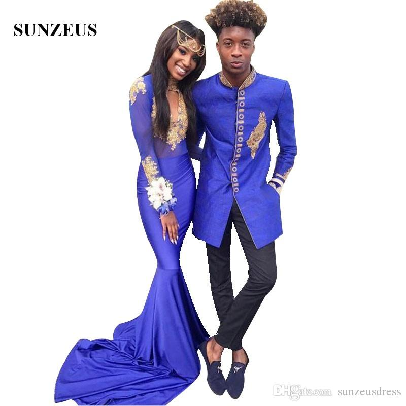 92261268b5c5a Mermaid Royal Blue Prom Dress With Gold Appliques Long Sleeves High Neck  Party Gowns Black Girls Gala Dress