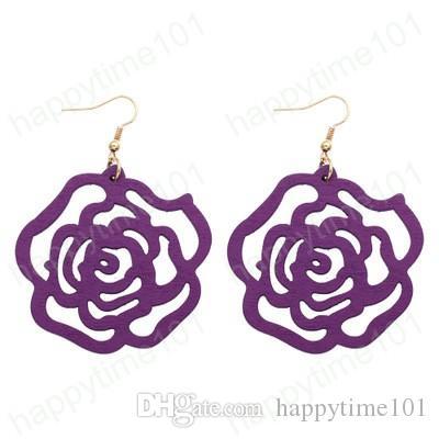 Rosa di disegno di legno degli orecchini di goccia di Boho Fiore ciondola per il regalo di Natale gioielli Dichiarazione della signora di modo delle ragazze