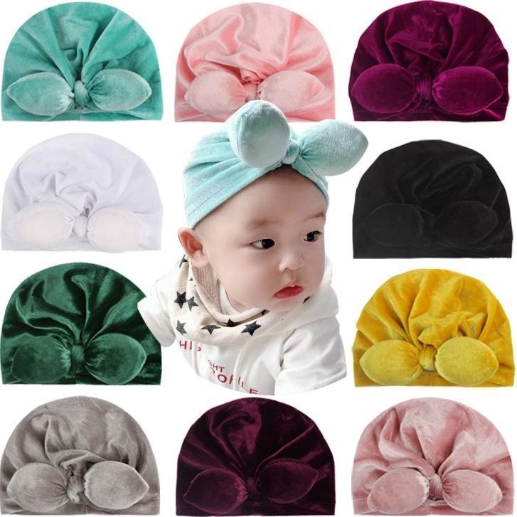 11 Colors New American Style Childrens Headwear Reborn Baby Pretty Rabbit Ear Soft Velvet Hat Girls Winter Warm Hat