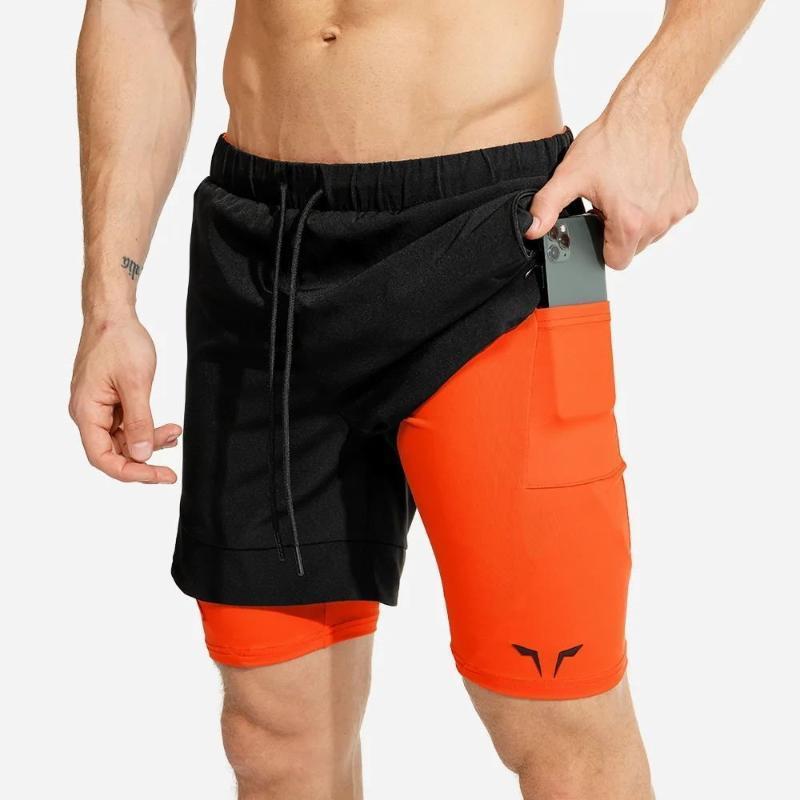 2020 Verano Pantalones cortos para correr Men 2 en 1 Deportes pantalones jogging aptitud para hombre Pantalones cortos de entrenamiento en seco rápida gimnasia gimnasia Deporte Hombres cortos