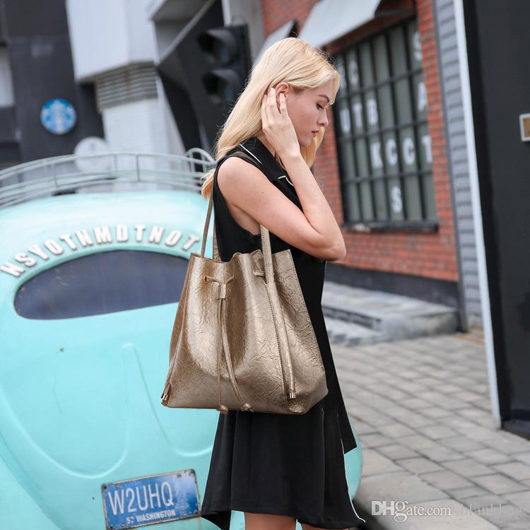couleur femmes imperméable sac à bandoulière en cuir solide cordon de serrage sac dame sac fourre-tout ensemble la mode sac à main style simple avec sac à glissière