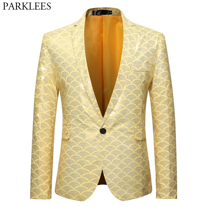 Shiny Gold Fish Scale glitter Giacca Uomini One Button Slim Fit Vestito Giallo Blazers partito Mens fase Prom Blazer Masculino