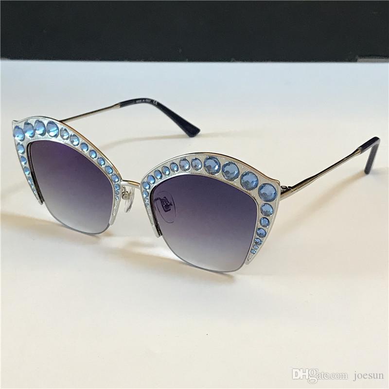 Nova mulher designer de moda 0114 óculos de sol encantador gato olho meio frame embutidos com cor cristal diamantes brilhantes lente UV400 qualidade superior
