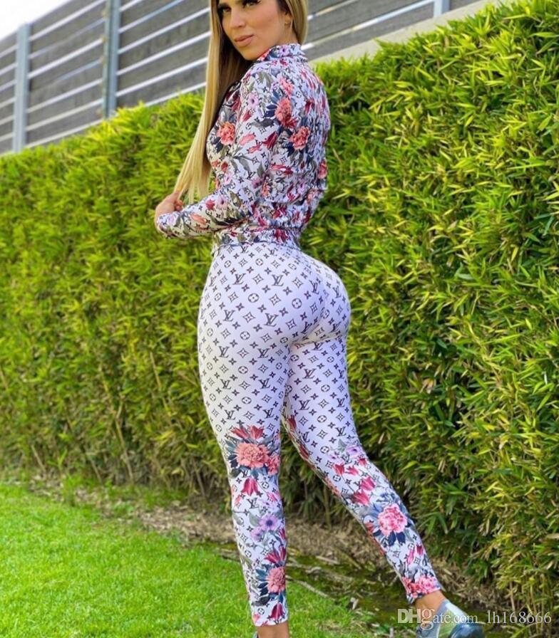 Sexy nuevas mujeres del diseño del chándal de manera ocasional de 2 piezas patrón establecido Carta largo mangas de la camiseta + pantalones trajes traje de deporte Correr