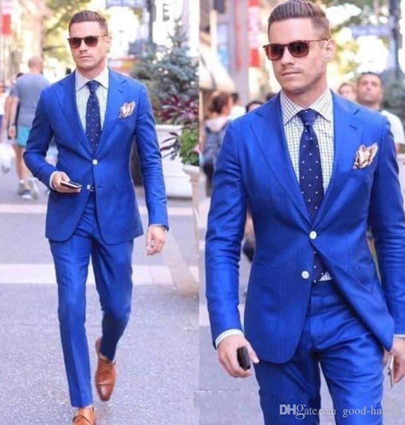Bonito Royal Blue Men Wedding Tuxedos Notch lapela do noivo smoking Homens Popular Blazer 2 Piece Suit Prom / Smoking (jaqueta + calça + empate) 58