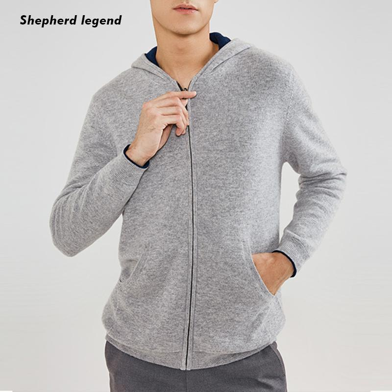 PAMIR 100% Superfine Merino Cashmere Zipper Lapel With Cap Men Clothes Pure Wool Knitted Cardigan Bottoming Warm Sweater Jacket