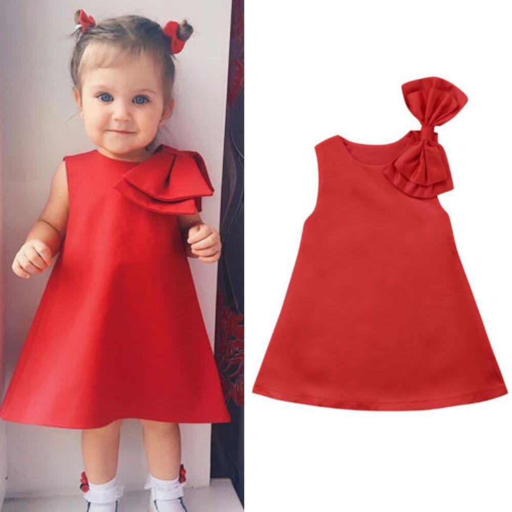 2020 Bebê Toddlers menina miúdos Sólidos Joelho de comprimento vestido sem mangas Partido Bow vestido vermelho verão Crianças New O Pescoço Roupa 1-8Y
