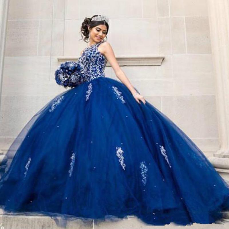Royal Blue Tulle vestido de baile Quinceanera Vestidos de cristal 2020 Novo Partido Prom vestidos de festa longos árabes vestidos vestidos de quinceanera