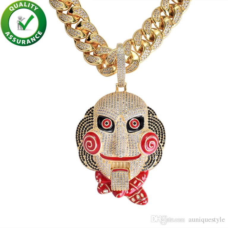 Iced Out Pendant Luxury Designer Necklace Hip Hop Jewelry Mens Gold Chain Pendants Bling Diamond Cuban Link Rapper Charm Hiphop Accessories