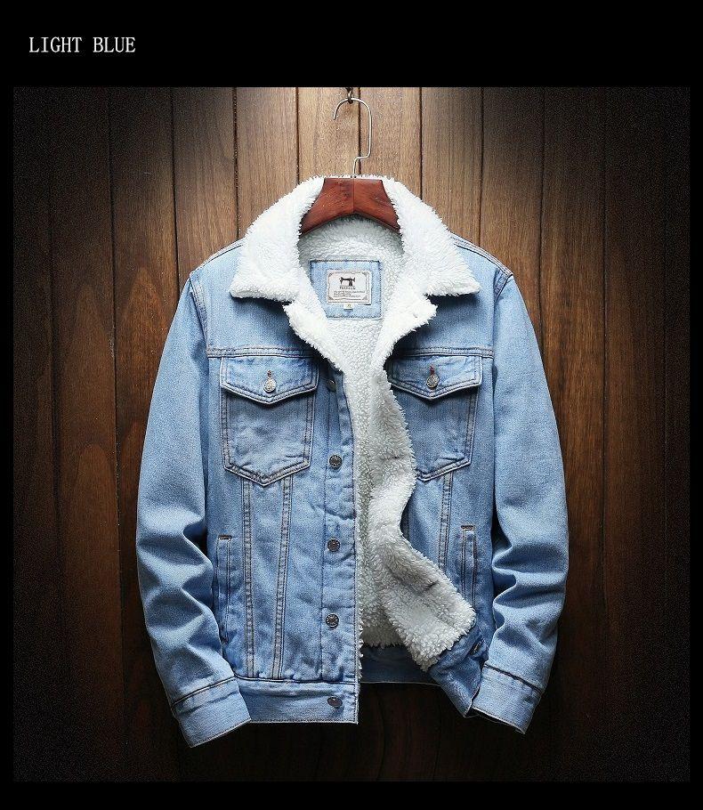 Men Jacket Trendy Warm Fleece Thick Denim Jacket Winter Mens Jean Jacket Outwear Cowboy