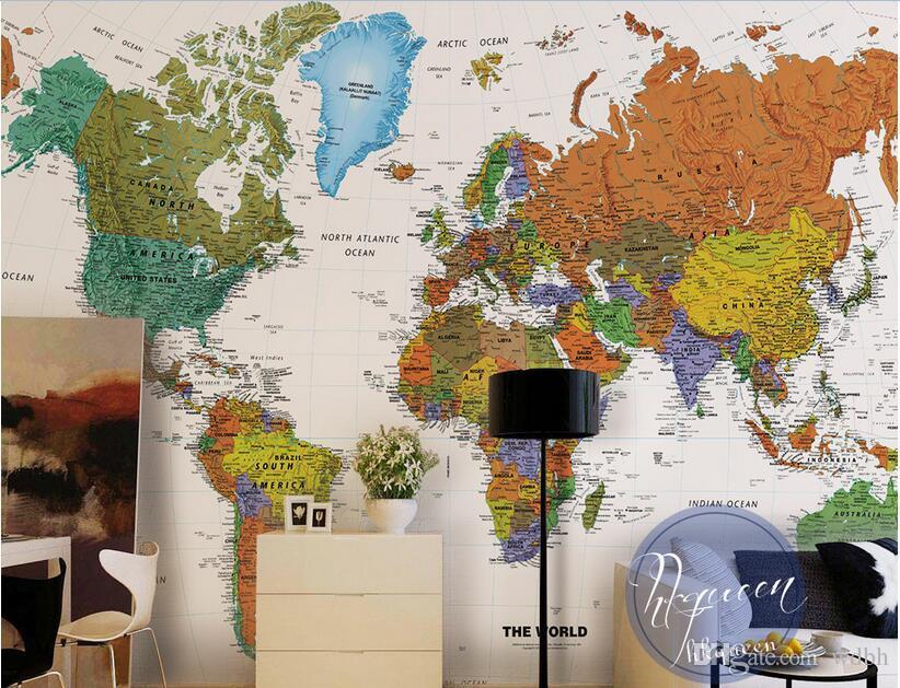 WDBH 3d chambre papier peint photo personnalisée monde européen rétro carte nautique fond peinture décor à la maison 3d peintures murales papier peint pour les murs 3 d
