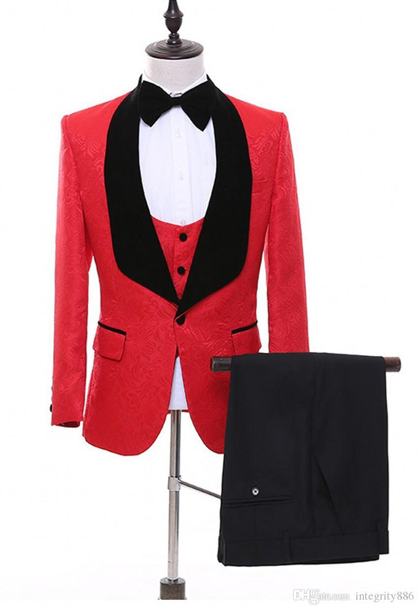 Red Paisley Groom Tuxedos Black Shawl Lapel Groomsmen Wedding Dress Popular Man Business Dinner Prom Blazer(Jacket+Pants+Tie+Vest) 1088