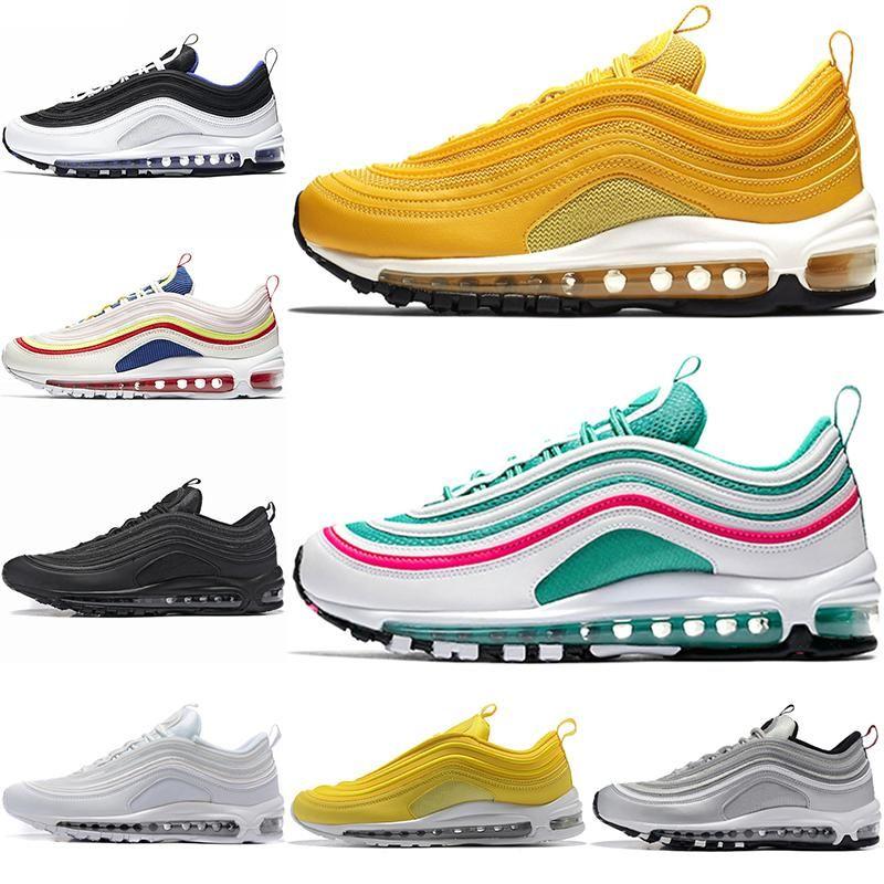 الاحذية 97 أحذية الرجال تشغيل أفضل نوعية الأحذية النساء الشحن المجاني Tripel الأبيض لامع الذهب والفضة رصاصة