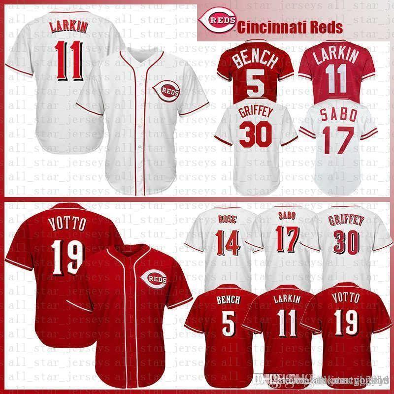Mens Cincinnati Baseball Jersey 5 Johnny Bench 11 Barry Larkin 19 Joey Votto 30 Ken Griffey JR 17 Chris Sabo 14 Pete Rose 66 유니폼 33