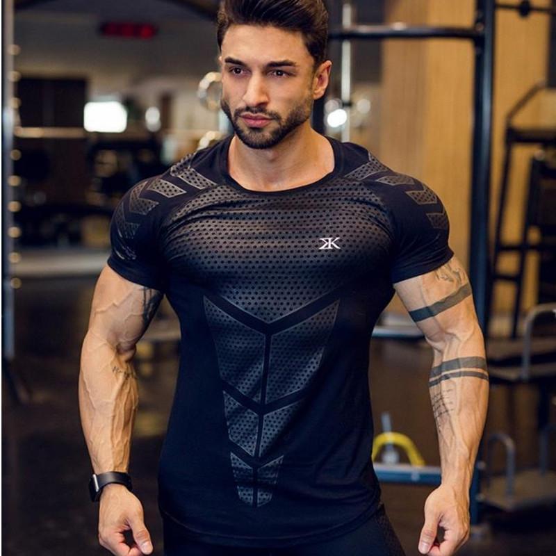 Kas Erkekler Yaz Spor Salonları Spor Vücut Geliştirme Sıkı Kısa Kollu T Shirt Erkek Spor Marka Tees Moda Gündelik Giyim Tops