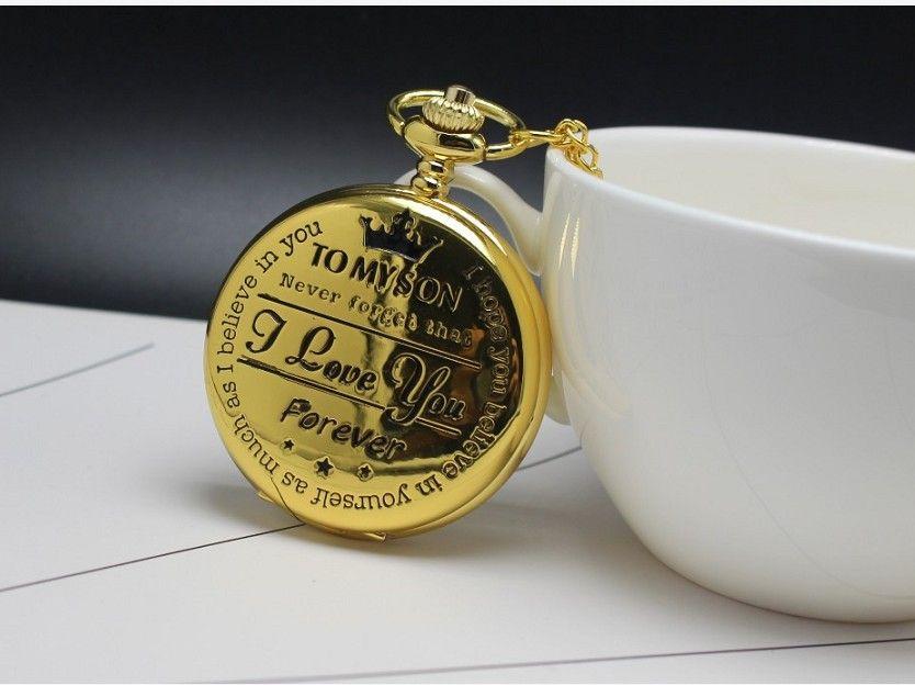 ساعة الجيب إلى ابني أنا أحبك الليزر محفورة كوارتز فليب ساعة للأطفال فوب سلسلة ساعة للأطفال أفضل الهدايا لابنه