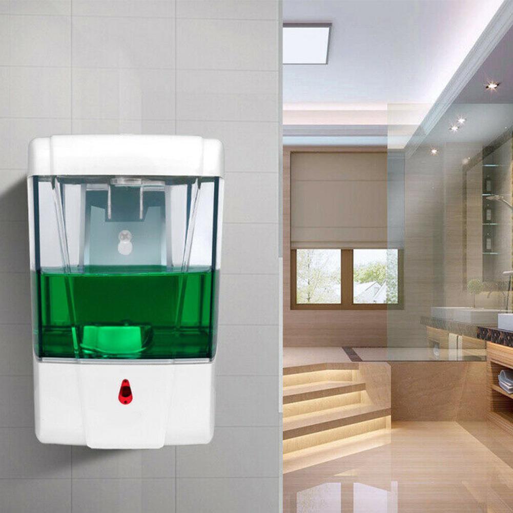 700ml LED Indicador Soap Dispenser Handsfree Wall Montado de Grande Capacidade Home Hotel Hotel Banheiro IR Sensor Totefless Automático T200517
