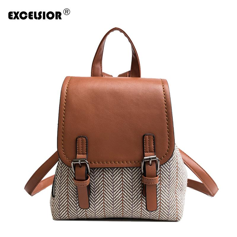 Excelsior Vintage Canvas Backpack Women Quality Pu Leather Cover Fashion Backpacks New Arrival Hot School Bags For Teenagers J190525