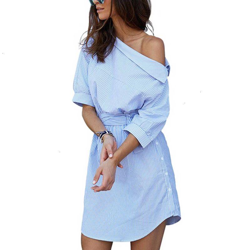 Women Clothing Designer Dresses Women Summer Dress Blue Striped Shirt Short Dress Mini Twill Sexy Side Half Sleeve Beach Dresses Sundress